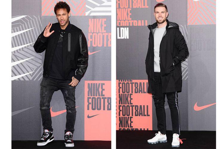 Neymar dengan Air Jordan 3 dan Jordan Henderson dengan Nike Air VaporMax yang belum dirilis ke pasar.