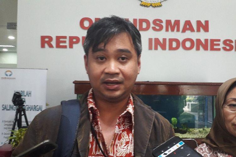 Manajer Riset Amnesty International Indonesia Papang Hidayat di Kantor Ombudsman RI, Rabu (10/7/2019).