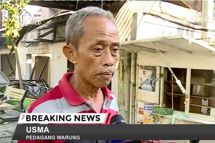 Usma, pemilik warung di Jalan Wahid Hasyim, Jakarta Pusat. Warung milik Usma dijarah saat kerusuhan 22 Mei 2019.