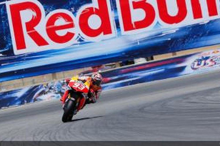 Pebalap Repsol Honda, Marc Marquez, memacu motornya di lintasan Laguna Seca pada balapan GP Amerika Serikat, Minggu (21/7/2013).