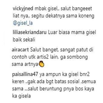Tangkapan layar komentar netizen di akun Instagram Gisella Anastasia