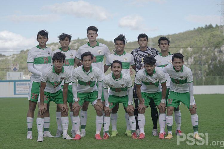 Skuad timnas U19 Indonesia kontra Makedonia Utara, Rabu (14/10/2020).