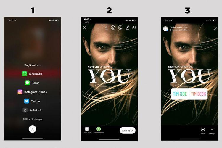 Cara berbagi poster Netflix beserta tautannya ke Instagram Stories.