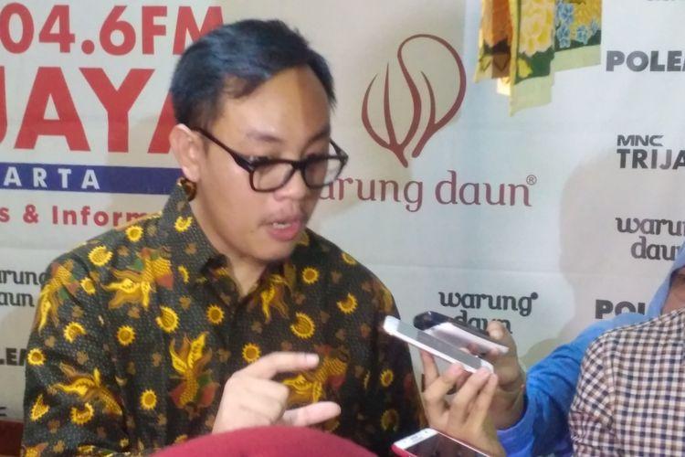 Ekonom Institute for Development of Economics and Finance (Indef), Bhima Yudhistira saat ditemui usai diskusi di Jakarta, Sabtu (28/4/2018).