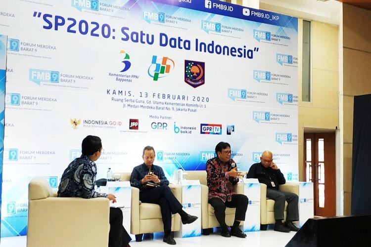 Deputi Bidang Statistik Sosial Badan Pusat Statistik (BPS) Margo Yuwono dalam diskusi di Kantor Kemenkominfo, Jakarta Pusat, Kamis (13/2/2020).