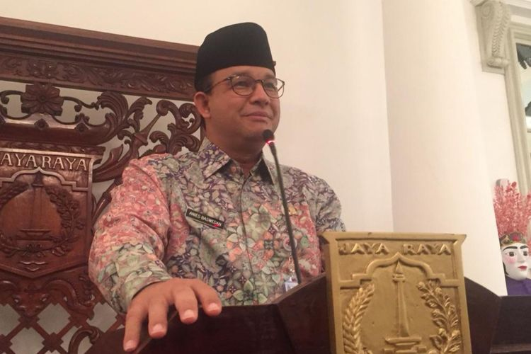 Gubernur DKI Jakarta Anies Baswedan di Balai Kota DKI Jakarta, Jalan Medan Merdeka Selatan, Kamis (27/6/2019).