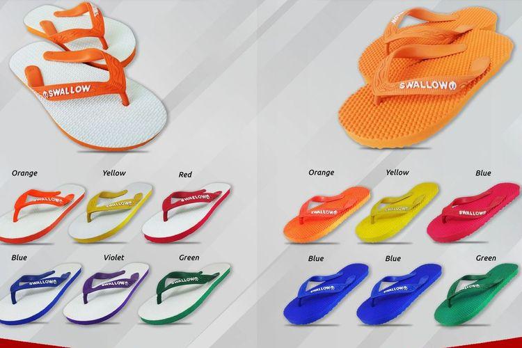 Macam-macam model sandal japit Swallow.