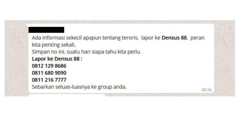 HOAKS: pesan berantai yang menyebutkan nomor telepon Densus 88 yang bisa dihubungi