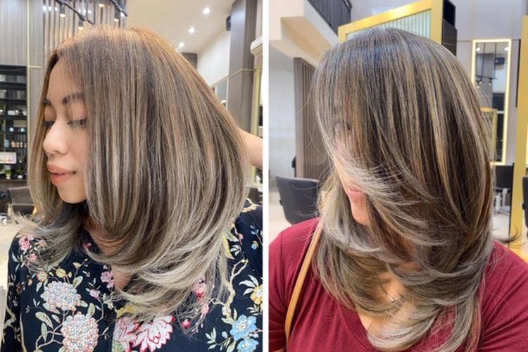 Hasil pewarnaan rambut dnegan teknik airtouch di HVAR Salon.