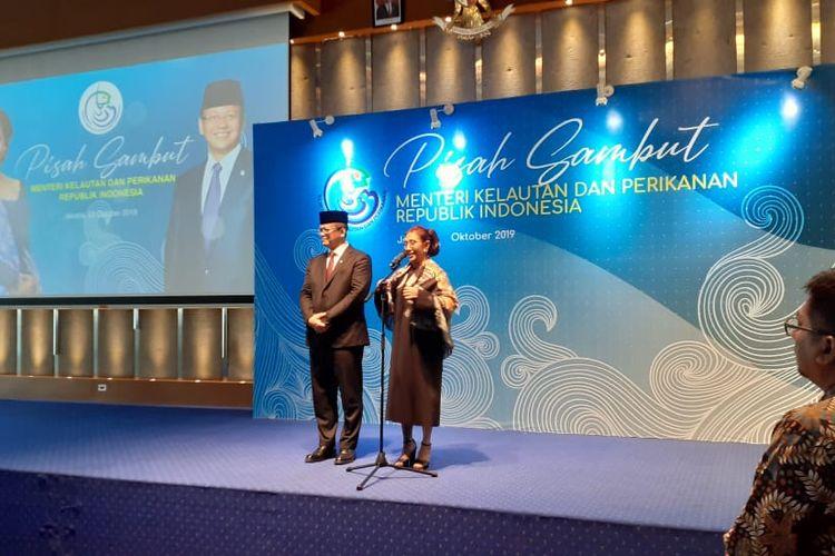 Mentery KKP Edhy Prabowo dan Susi Pudjiastuti di Kantor KKP, Rabu (23/10/2019).
