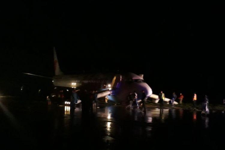 Kondisi pesawat Lion Air yang tergelincir di Bandara Jalaluddin Tantu Gorontalo