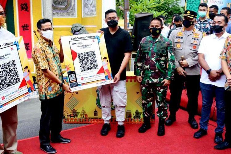 Soft launching kawasan cagar budaya Kesawan City Walk dan E-Parking di depan rumah Tjong A Fie Pada Minggu (28/3/2021) oleh Wali Kota Medan Muhammad Bobby Nasution Afif Nasution