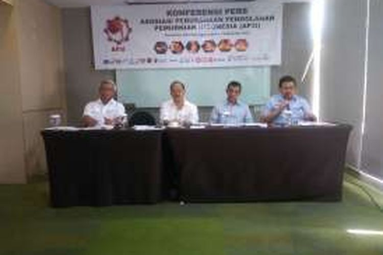 Konferensi pers Asosiasi Perusahaan Pengolahan Pemurnian Indonesia (AP3I) menolak relaksasi ekspor mineral mentah, di Jakarta, Rabu (7/9/2016).