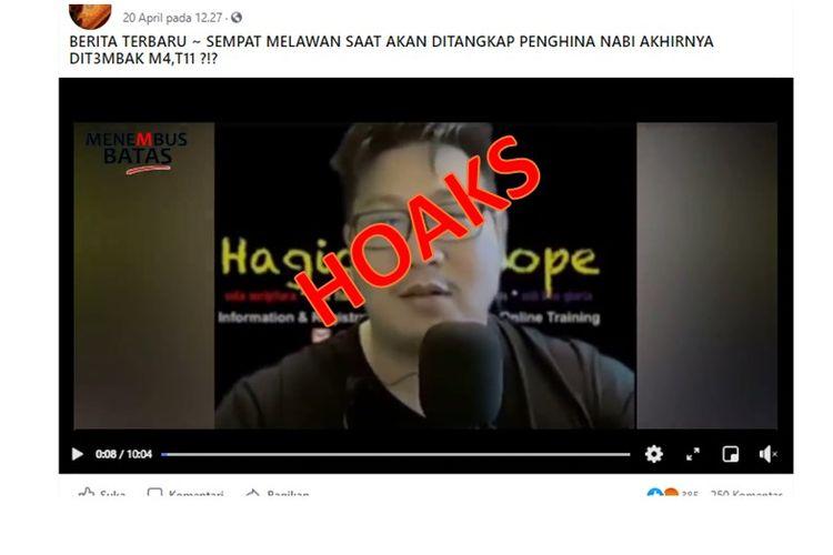 Tangkapan layar video hoaks yang mengklaim bahwa Paul Zhang ditembak mati saat akan ditangkap