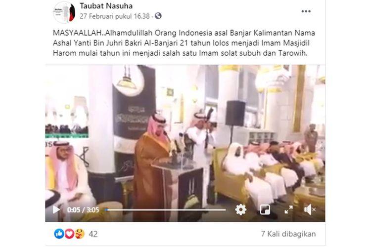 Tangkapan layar unggahan yang menyebut orang Indonesia lolos menjadi imam di Masjidil Haram.