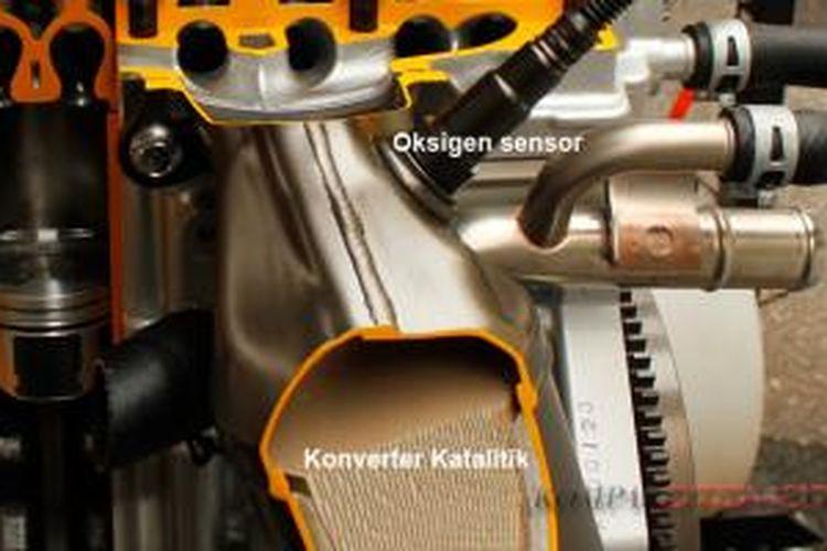 Konverter katalitik dan sensor oksigen  pada mesin Agya dan Ayla, diintegrasikan pada sistem saluran buang (exhaust)