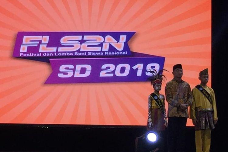 Penutupan Festival dan Lomba Seni Siswa Nasional (FLS2N) tahun 2019 jenjang pendidikan SD dan SMP, di Tangerang, Jumat (20/9/2019).