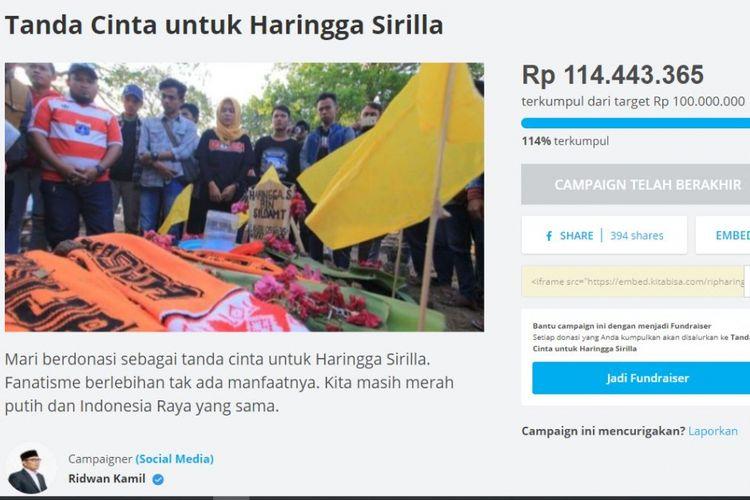 Laman penggalangan donasi untuk Haringga Sirla yang diinisiasi Ridwan Kamil di kitabisa.com.