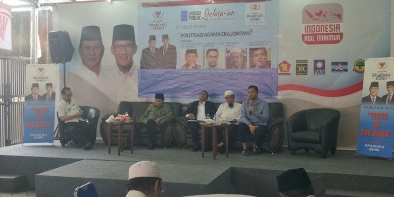 Diskusi bertajuk Politisasi Agama Era Jokowi? di kantor Seknas Prabowo-Sandiaga, Menteng, Jakarta Pusat, Selasa (19/2/2019).
