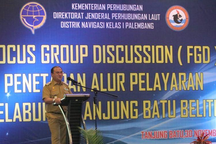 Gubernur Provinsi Kepulauan Bangka Belitung (Babel), Erzaldi Rosman dalam Focus Group Discussion Alur Pelayaran Pelabuhan Tanjung Batu, Kabupaten Belitung, di Hotel BW Suite, Belitung, Selasa (1/12/2020).