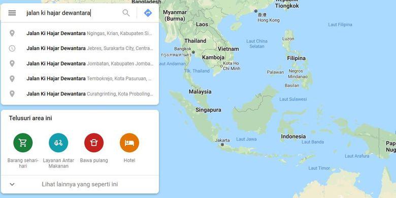 Jalan Ki Hajar Dewantara di beberapa daerah di Indonesia