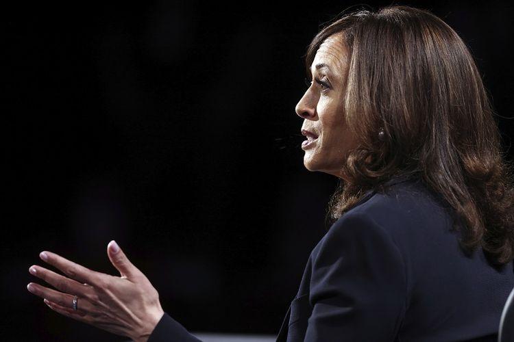 Calon wakil presiden dari Partai Demokrat Senator California, Kamala Harris berbicara selama acara debat wakil presiden pada Rabu, 7 Oktober 2020, di Kingsbury Hall di kampus Universitas Utah di Salt Lake City AS.