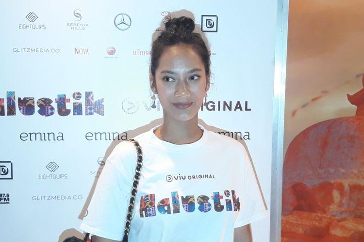 Tara Basro di tengah peluncuran web serie Halustik di CGV Grand Indonesia, Jakarta Pusat, Rabu (12/9/2017).