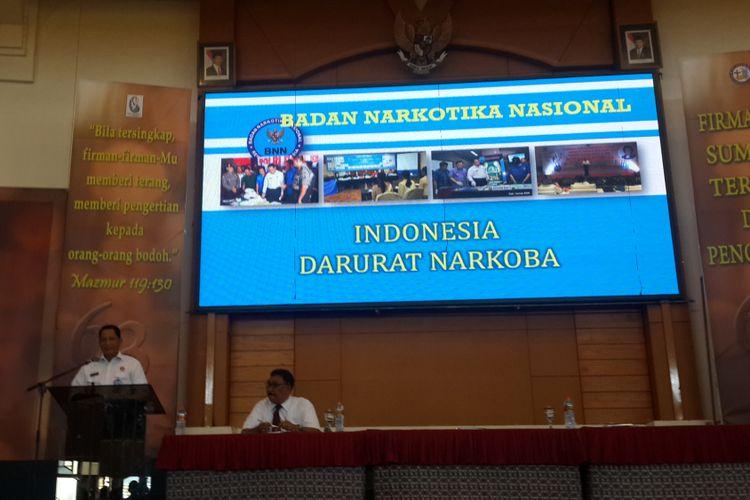 Kepala Badan Narkotika Nasional (BNN) Komjen Budi Waseso atau Buwas saat menjadi pembicara dalam acara Ikatan Keluarga Alumni Institut Injil Indonesia di Sekolah Alkitab Kota Batu, Jawa Timur, Kamis (2/11/2017).