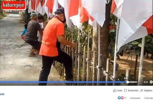 Teruskan Tradisi Sang Ayah, Pria di Klaten Ini Pasang 75 Bendera untuk HUT Ke-75 RI