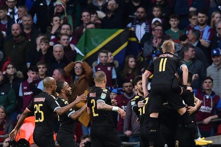Skuad Manchester City saat merayakan gol ke gawang Aston Villa pada final Piala Liga Inggris, Minggu (1/3/2020) malam WIB.