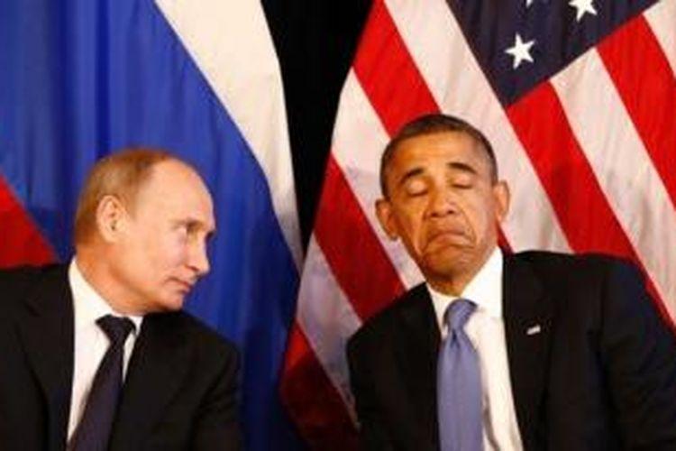 Presiden Rusia Vladimir Putin dan Presiden AS Barack Obama.