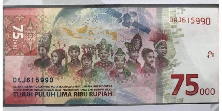 Uang baru edisi kemerdekaan ke-75 RI yang dirilis Bank Indonesia, Senin (18/8/2020)