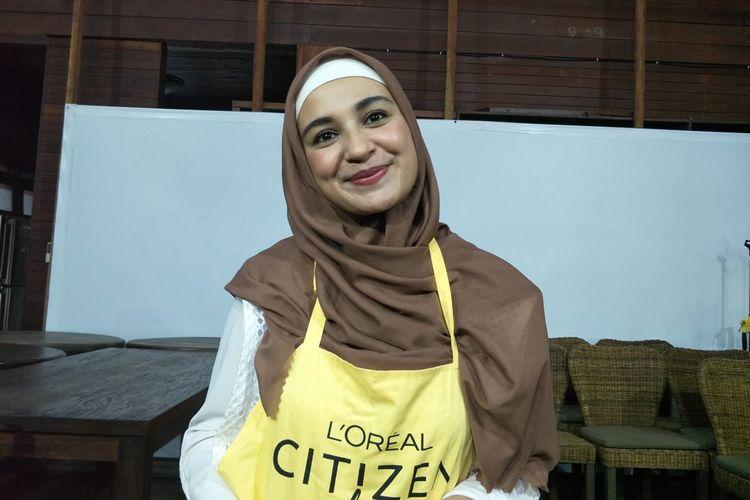 Shireen Sungkar saat ditemui dalam acara Loreal Citizen Day di Taman Wisata Mangrove, Pantai Indah Kapuk, Jakarta Utara, Selasa (25/6/2019).
