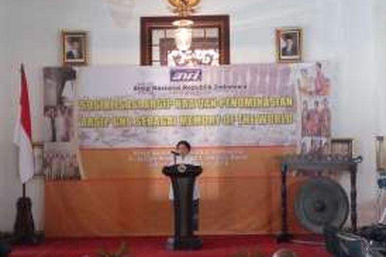 Presiden RI kelima Megawati Soekarnoputri saat memberikan sambutan di Gedung Arsip Nasional, Kamis (25/8/2016).