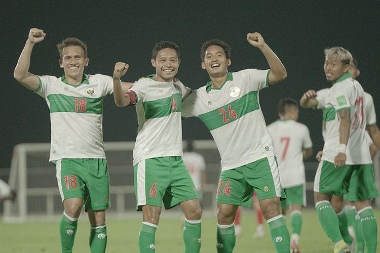 Skuad timnas Indonesia pada laga uji coba menjelang lanjutan Kualifikasi Piala Dunia 2022 Zona Asia di Uni Emirat Arab (UEA).
