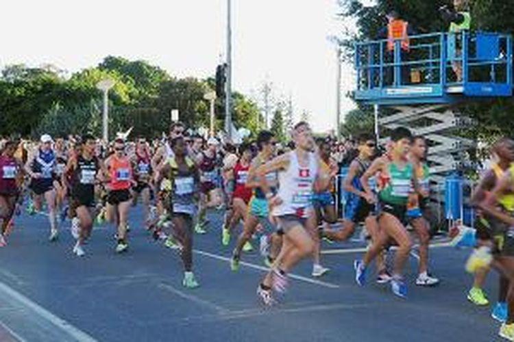 Semangat berlari, sekadar berolah raga atau mencetak waktu terbaik.
