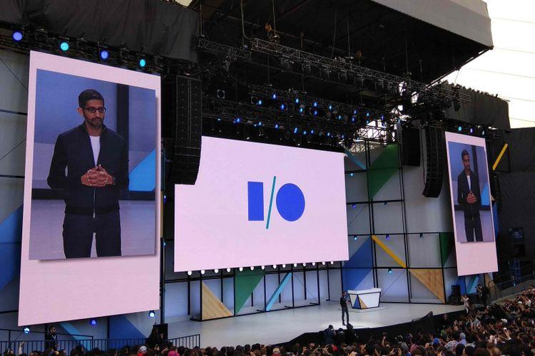 CEO Google Sundar Pichai memberikan keynote utama pada ajang tahunan Google I/O di Googleplex, Mountain Views, AS, Rabu (17/5/2017).