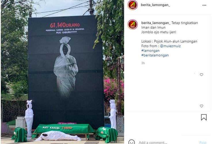 Viral unggahan spanduk dan patung pocong di alun-alun Kota Lamongan