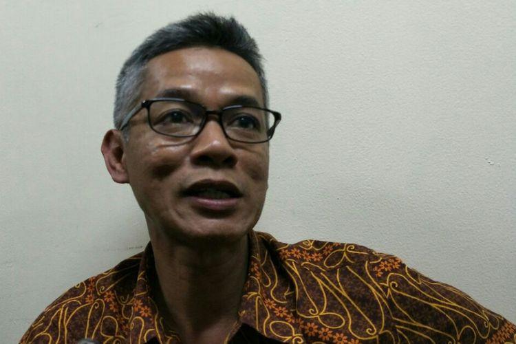 Komisioner Komisi Pemilihan Umum (KPU) RI Wahyu Setiawan ketika di Kantor Badan Pengawas Pemilu (Bawaslu) RI, di Jakarta, Kamis (1/3/2018).