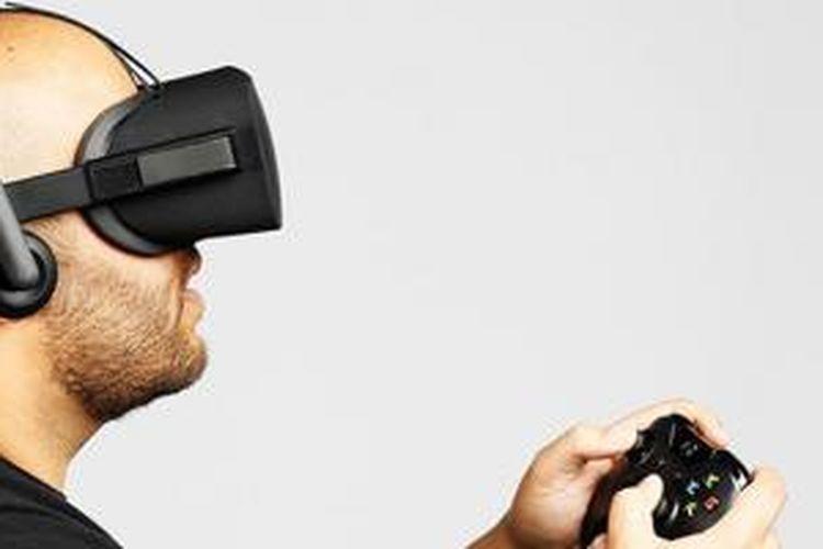 Penampilan Oculus Rift saat dipakai untuk bermain game