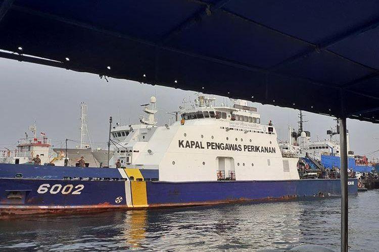 Kapal Pengawas Perikanan KKP di Muara Angke Jakarta, Senin (28/10/2019).
