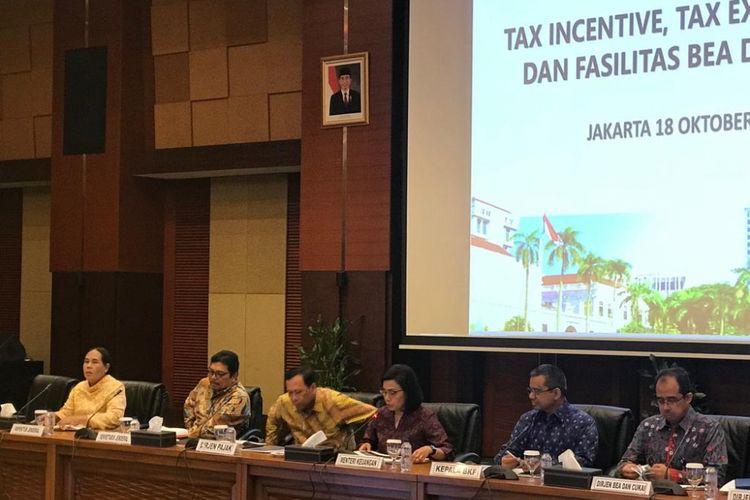 Menteri Keuangan Sri Mulyani saat di kantornya, Jakarta, Kamis (18/10/2018).