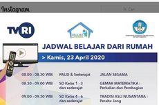 Jadwal Belajar dari Rumah di TVRI Kamis 23 April 2020