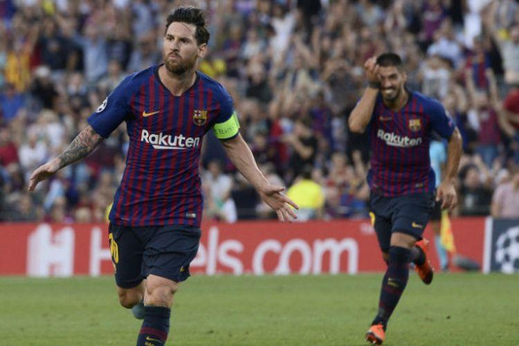 Lionel Messi mencetak hat-trick pada pertandingan Barcelona vs PSV dalam matchday 1 Liga Champions di Camp Nou, 18 September 2018.