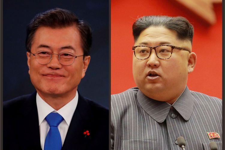 Presiden Korea Selatan Moon Jae-in (kiri) dijadwalkan bertemu dengan Pemimpin Tertinggi Korea Utara Kim Jong Un (kanan) pada 27 April 2018 mendatang.