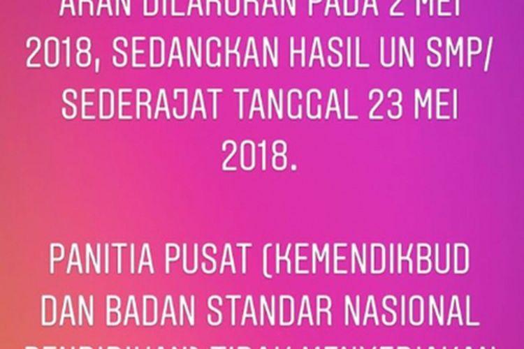 Kemendikbud telah menyampaikan melalui akun resmi instagram pengumuman hasil UN tingkat SMA akan dilakukan melalui sekolah (1/5/2018)