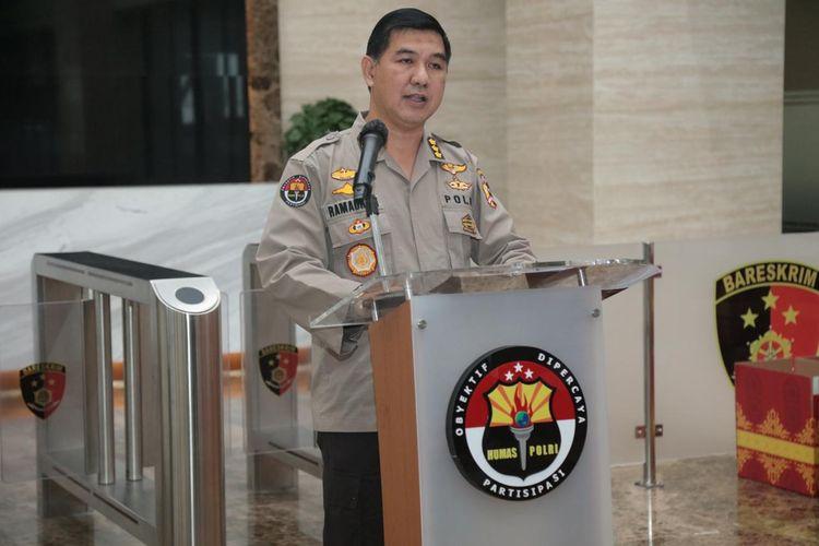 Police spokesman Ahmad Ramadhan speaks at an event in Jakarta.