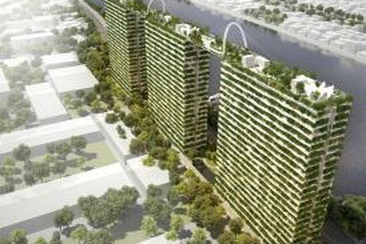 Tiga kondominium 'Diamond Lotus' yang saling terhubung lewat taman atap di Ho Chi Minh City, Vietnam
