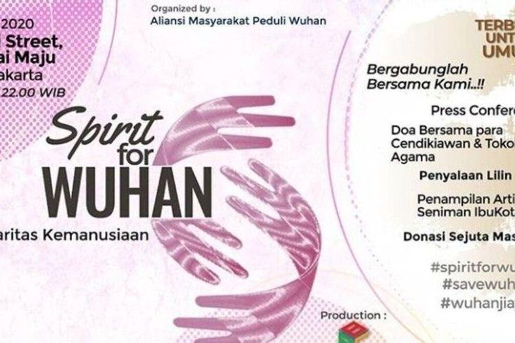 Brosur acara Spirit of Wuhan yang akan kumpulkan sejuta masker di Pulau Reklamasi, Penjaringan, Jakarta Utara, Kamis (20/2/2020)