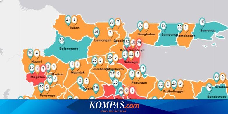 Update Peta Sebaran Covid 19 Di Jatim Surabaya Terbanyak Positif Terjangkit Corona Halaman All Kompas Com